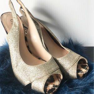 🚨 Guess Geliana Gold & Leopard Peep Toe 6M